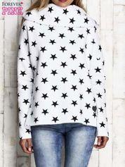Biała ocieplana bluza w gwiazdki