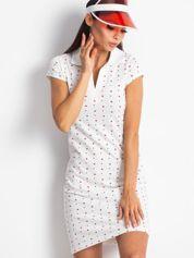Biała sukienka polo w serduszka