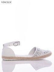 Białe ażurowe sandały Vinceza ze skóry, z ozdobną plecioną podeszwą