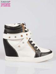 Białe sneakersy z dżetami i suwakiem