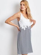 Biało-granatowa sukienka Seashore