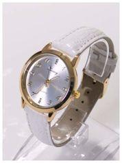 Biało-złoty damski zegarek z cyrkoniami na tarczy