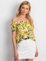 Biało-żółta bluzka hiszpanka w kwiaty