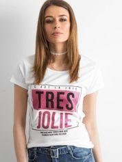 Biały bawełniany t-shirt z napisami