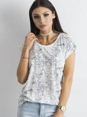 Biały damski t-shirt w kwiaty