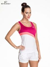 Biały damski top sportowy z różowym modułem