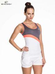 Biały damski top sportowy z szaro-koralowym modułem