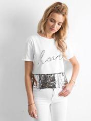 Biały krótki t-shirt z cekinami