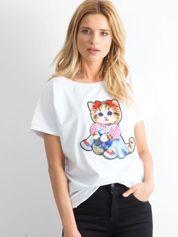 Biały luźny t-shirt Sweetness