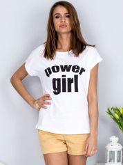 Biały t-shirt POWER GIRL