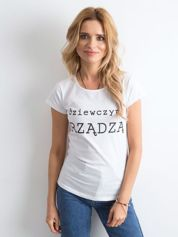 Biały t-shirt damski z napisem