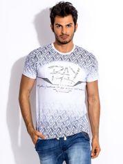 Biały t-shirt męski z wypukłym printem