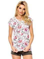 Biały t-shirt z kwiatowym nadrukiem