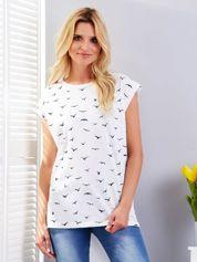 Biały t-shirt z nadrukiem ptaków