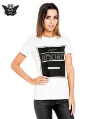 Biały t-shirt z napisem AMORE