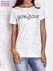 Biały t-shirt z napisem BONJOUR