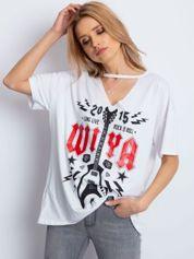 Biały t-shirt z rockowym printem