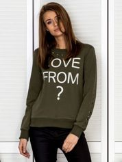 Bluza damska z ażurowymi kółeczkami i napisem khaki