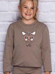 Bluza dla dziewczynki z nadrukiem kota kawowa
