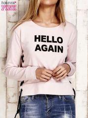Bluza lace up jasnoróżowa z napisem