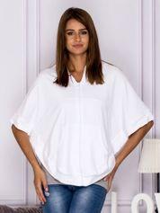 Bluza o kroju poncho z kapturem biała