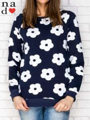 Bluza w kwiaty granatowa