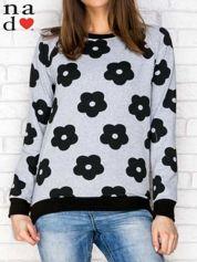 Bluza w kwiaty szaro-czarna