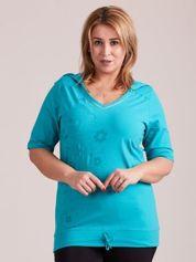 Bluza z kapturem i nadrukiem zielona PLUS SIZE