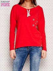 Bluza z plecionym sznurkiem przy dekolcie czerwona