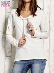 Bluza z plecionym sznurkiem przy dekolcie ecru