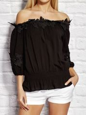 Bluzka damska z koronkowym wykończeniem czarna