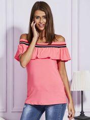 Bluzka hiszpanka z kolorowym ściągaczem fluo różowa