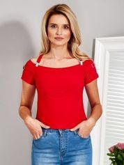 Bluzka hiszpanka z ozdobnymi paskami czerwona