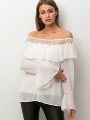 Bluzka hiszpanka z perełkami biała