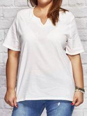 Bluzka koszulowa z haftowanym wzorem biała PLUS SIZE