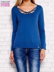 Bluzka lace up z długim rękawem ciemnoniebieska
