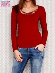 Bluzka lace up z długim rękawem czerwona