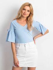Bluzka niebieska z rozszerzanymi rękawami