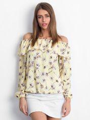 Bluzka odsłaniająca ramiona żółta floral print