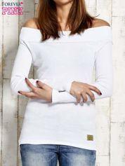 Bluzka w prążek ze ściągaczem przy dekolcie biała
