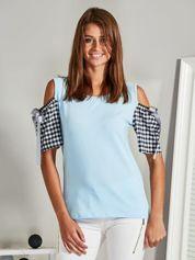Bluzka z odkrytymi ramionami jasnoniebieska