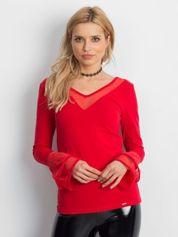 Bluzka z ozdobnymi rękawami czerwona