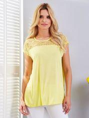 Bluzka żółta z koronkowym dekoltem