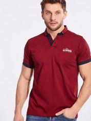 Bordowa bawełniana męska koszulka polo