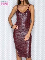 Bordowa sukienka tuba na cienkich ramiączkach