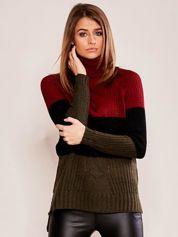 Bordowo-czarny sweter golf
