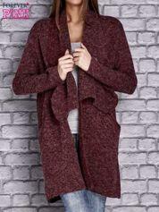 Bordowy melanżowy sweter z kaskadowym dekoltem