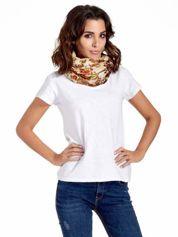 Brązowa chusta w patchworkowe wzory