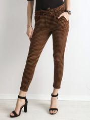 Brązowo-czarne spodnie w kratkę