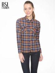 Brązowo-granatowa damska koszula w kratę z kieszonkami i naszywką